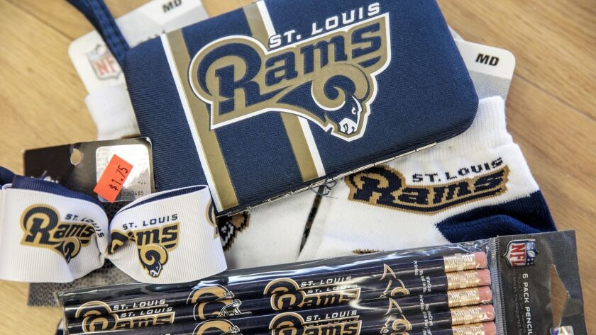 St. Louis Rams merchandise--hair bows, pencils, a phone case and socks--are seen on Friday, Jan. 25,