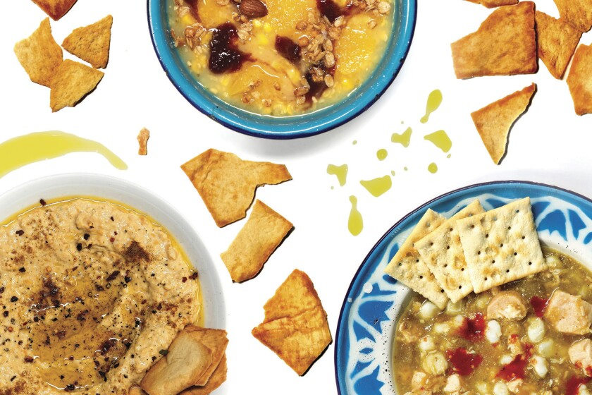 Food in plates and bowls