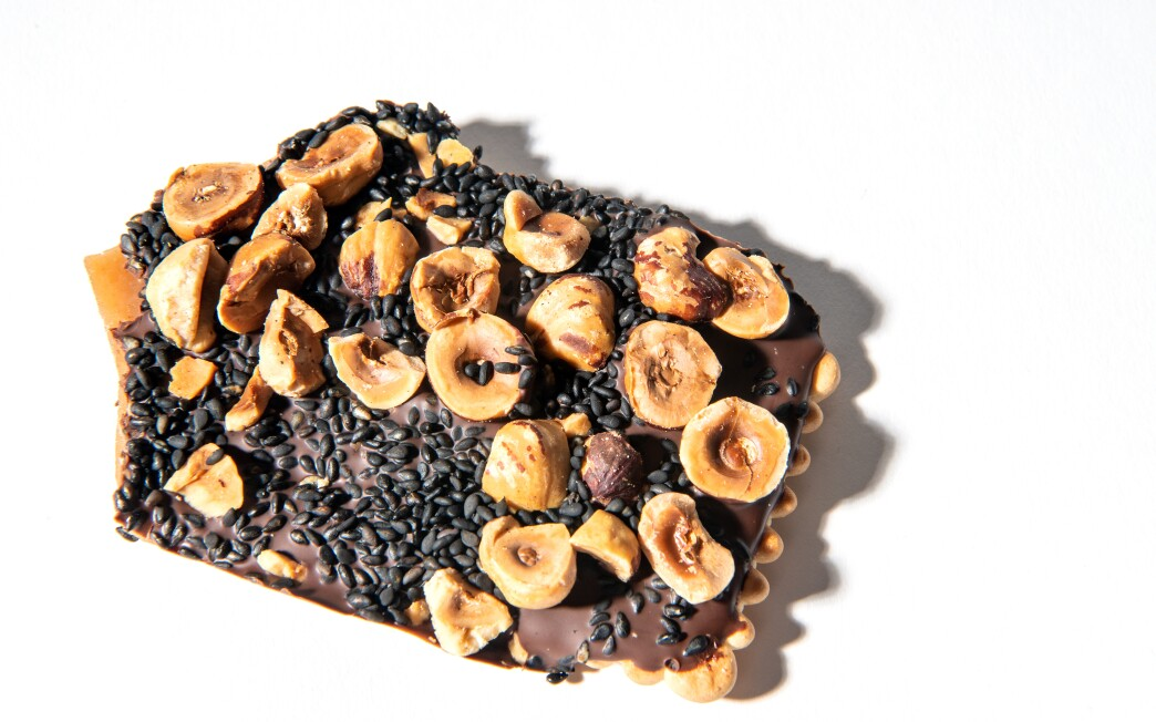 Black Sesame Butter Toffee with Hazelnuts