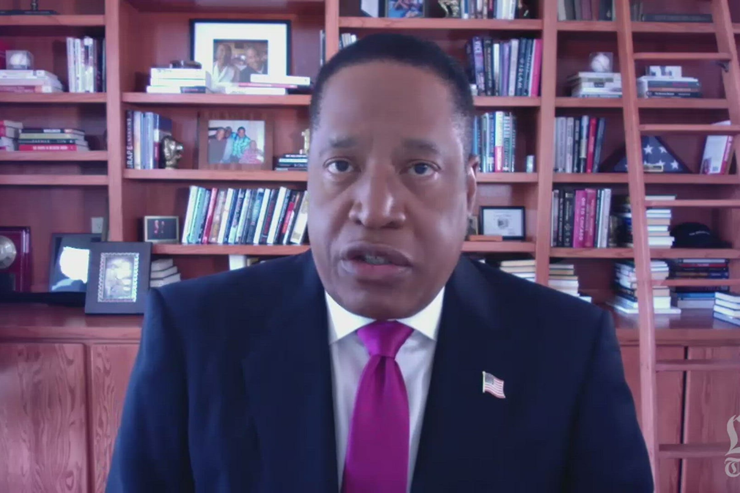 Larry Elder in a Zoom discussion with Los Angeles Times opinion editors