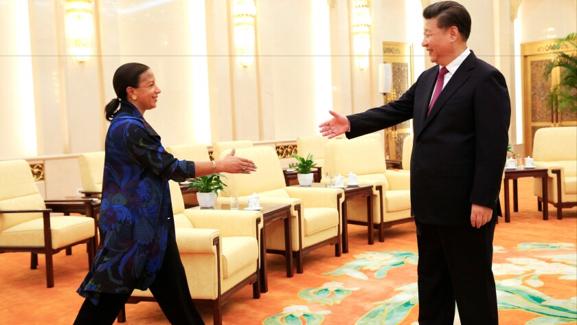 U.S. national security advisor Susan Rice and Chinese President Xi Jinping meet at the Great Hall of the People in Beijing on July 25, 2016.