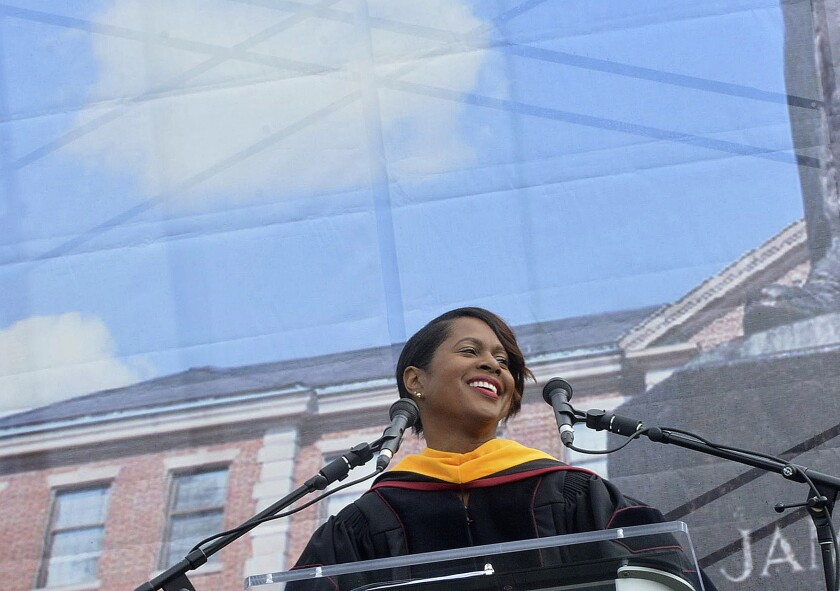 """Retired NASA astronaut Joan Higginbotham delivers her address during the North Carolina Central University commencement exercises at O'Kelly-Riddick Stadium, Saturday, May 13, 2017, in Durham, N.C. A group encouraging STEM professionals to run for public office is pushing the former astronaut to enter North Carolina's Democratic primary for an open Senate seat. Higginbotham, the third Black woman to go to space, is """"seriously, seriously"""" considering entering the race and is """"doing all the things that candidates who are looking to run for office are doing,"""" according to Josh Morrow, co-founder and executive director of 314 Action, who spoke with her on Tuesday, March 9, 2021 about the potential candidacy. (Bernard Thomas/The Herald-Sun via AP)"""
