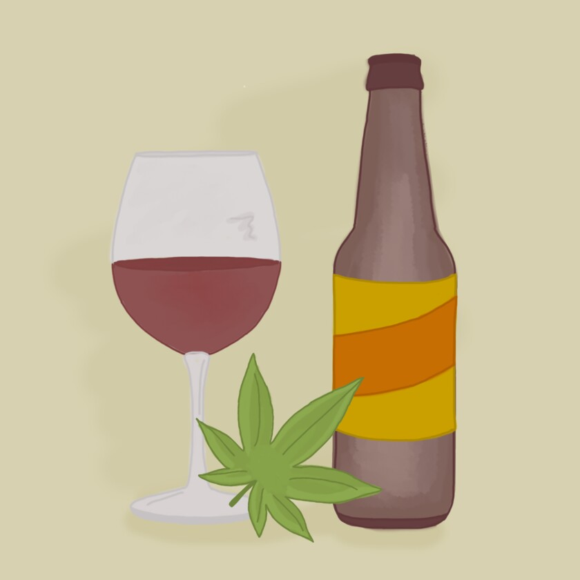 Illustration of a glass of wine, a bottle of beer and a weed leaf.