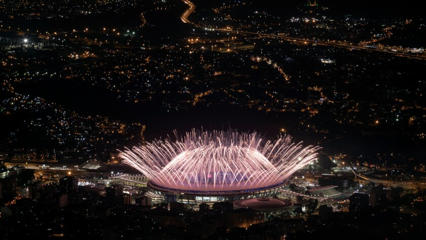 Fireworks explode over Maracaña Stadium during the opening ceremony at the 2016 Summer Olympics in Rio de Janeiro.