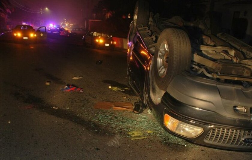 The scene of the Oct. 26 rollover crash involving 16 La Jolla High School students. Courtesy San Diego Police