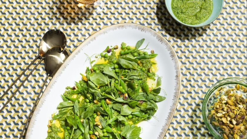 Spring pea salad with pistachios by chef Alex Chang