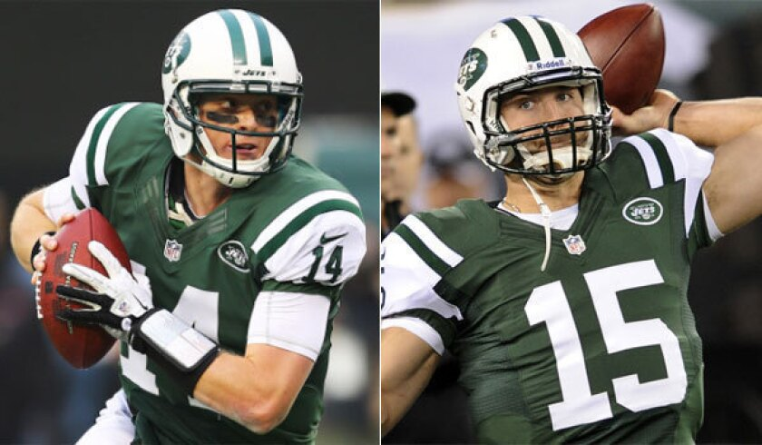 Greg McElroy, left, jumped over Tim Tebow, right, on the New York Jets' depth chart to get the starting nod this week.