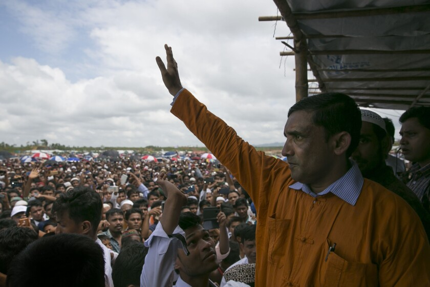 Mohib Ullah, a leader for the Rohingya community, attends a ceremony Aug. 25, 2019, in Cox's Bazar, Bangladesh, to mark the second anniversary of the Rohingya crisis.