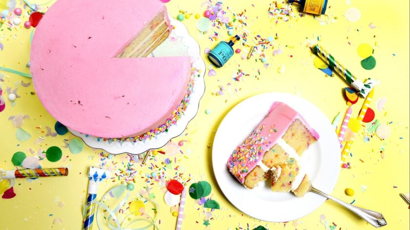 The pink confetti layer cake from Big Sugar Bake Shop.