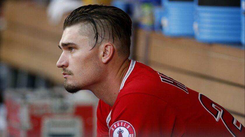 ANAHEIM, CALIF. -- SATURDAY, MAY 19, 2018: Los Angeles Angels starting pitcher Andrew Heaney (28) si