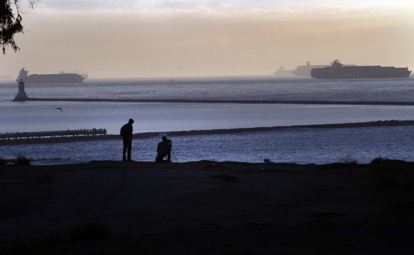 View of passing ships from the cliffs, Point Fermin Park in San Pedro.