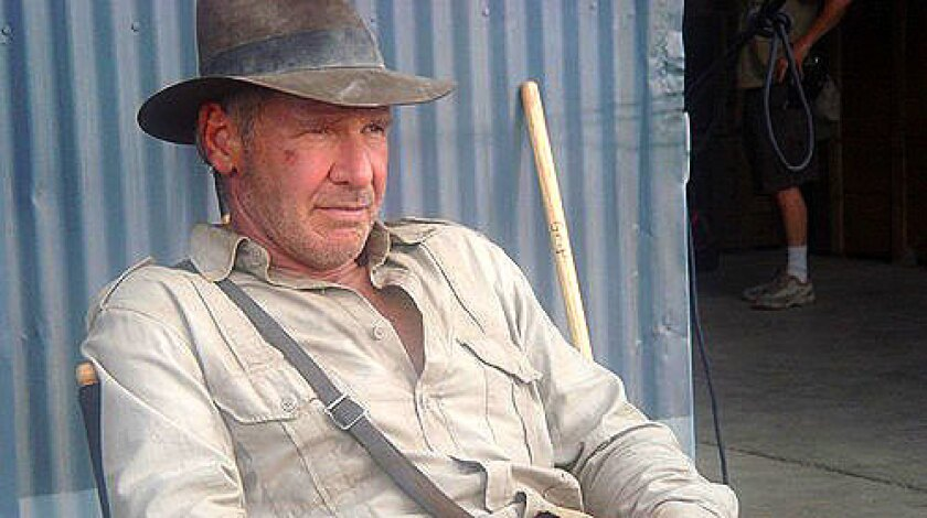"""Harrison Ford on the set of """"Indiana Jones and the Kingdom of the Crystal Skull."""""""