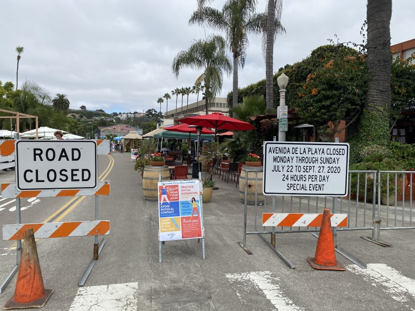 One block of Avenida de la Playa is closed to vehicular traffic for outdoor dining.