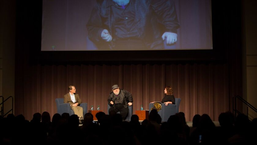 Sci-fi writer and UC San Diego alumni Kim Stanley Robinson, fantasy writer George R.R. Martin and Cl