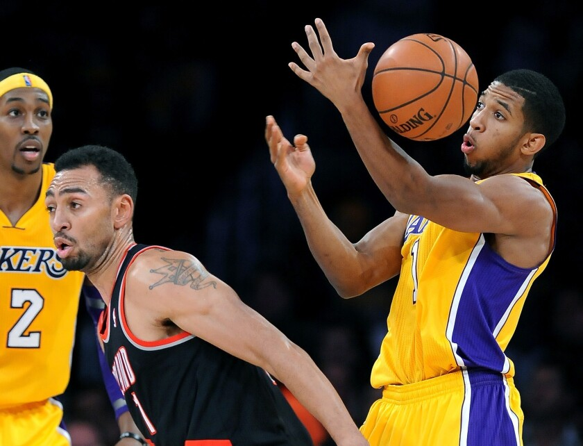 Darius Morris, who started 17 games for the Lakers this season, steals the ball from the Trail Blazers' Jared Jeffries.