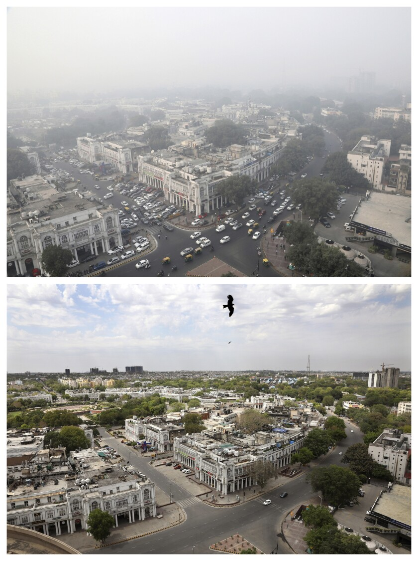 New Delhi's skyline on Nov. 1, top, and on April 20. India's air quality improved drastically during a nationwide lockdown to curb the spread of the coronavirus.