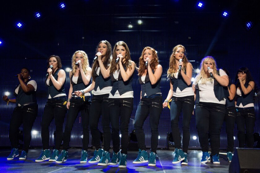 """Ester Dean as Cynthia Rose, left, Shelley Regner as Ashley, Kelley Alice Jakle as Jessica, Hailee Steinfeld as Emily, Anna Kendrick as Beca, Brittany Snow as Chloe, Alexis Knapp as Stacie, Rebel Wilson as Fat Amy, and Hana Mae Lee as Lilly Anna Kendrick as Beca, as the Barden Bellas in a scene from the film, """"Pitch Perfect 2."""""""
