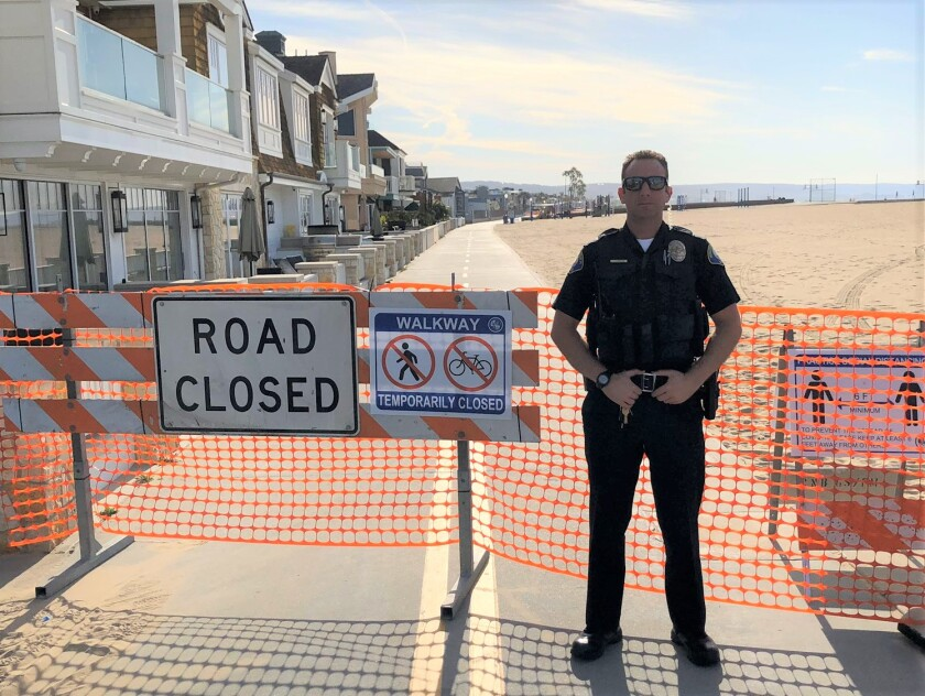 Newport Beach police ensured visitors knew about last weekend's closure of the Balboa Peninsula boardwalk, but they didn't write any tickets.