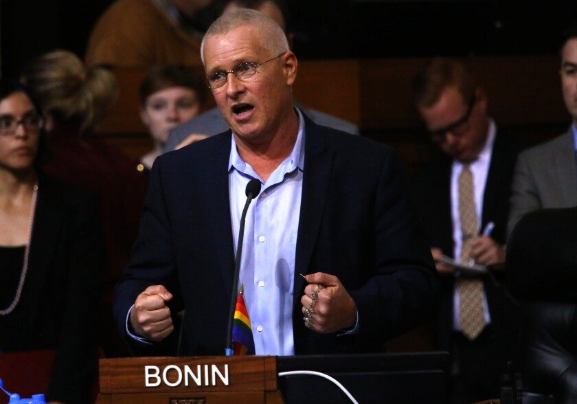 Los Angeles City Councilman Mike Bonin, seen here in May 2015, wrote the resolution that City Council members adopted Friday that will have the city refrain from doing business with North Carolina and Mississippi.