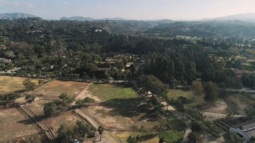 An aerial view of Rancho Santa Fe's urban forest.