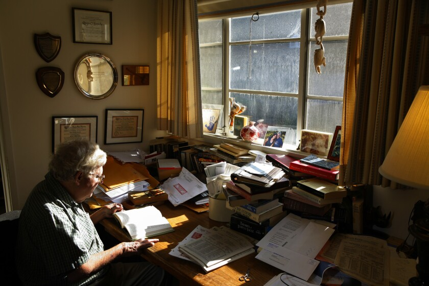 Occidental College politics professor Roger Boesche, a former professor of U.S. President–elect Barack Obama, in his home office in 2008. Boesche, who Obama has often cited as influential, died Tuesday at 69.