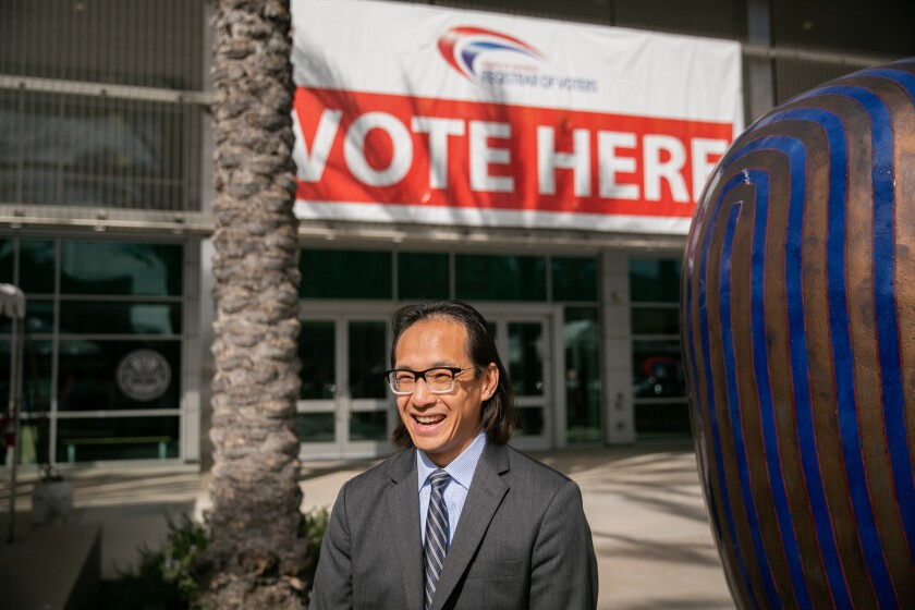 San Diego County Registrar of Voters Michael Vu poses for a portrait outside the registrar's headquarters on February 20, 2020 in San Diego, California.