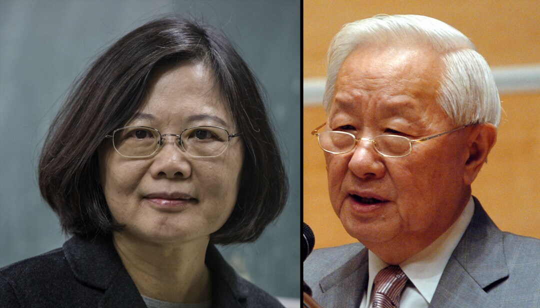 Taiwan's President Tsai Ing-wen and TSMC Morris Chang.