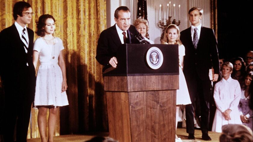 President Nixon announces his resignation following the Watergate scandal in Washington on Aug. 8, 1974.