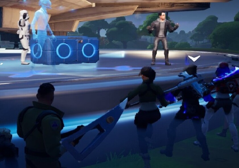 """In a screengrab, virtual J.J. Abrams introduces footage from """"The Rise of Skywalker"""" via """"Fortnite."""""""