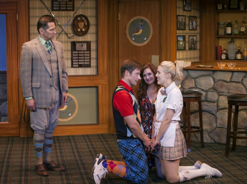 Kevin Bailey (Bingham), Kyle Sorrell (Justin), Jacquelyn Ritz (Pamela) and Ashley Stults (Louise) star in the zany 'The Fox on The Fairway.'