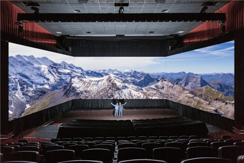 Belgium cinema technology company Barco recently unveiled its new panoramic-screen system Barco Escape.