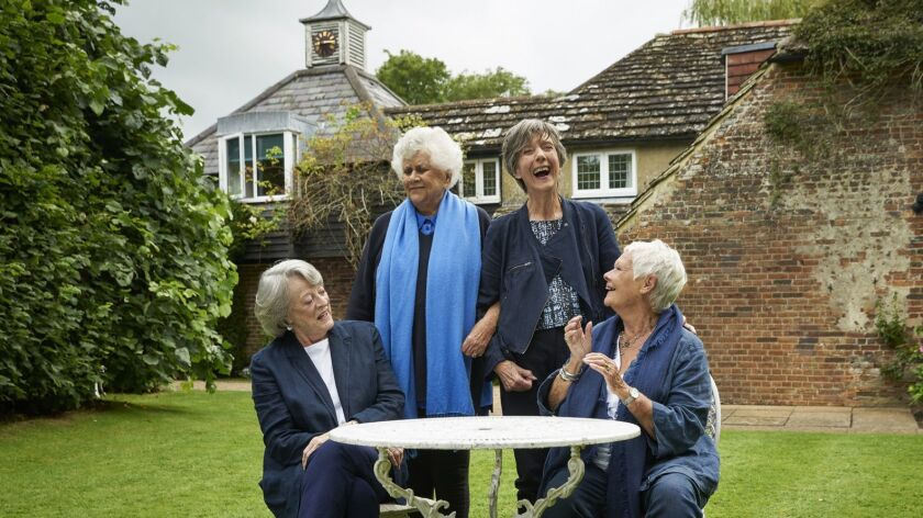 "Maggie Smith, Joan Plowright, Eileen Atkins and Judi Dench in the film ""Tea with the Dames."""