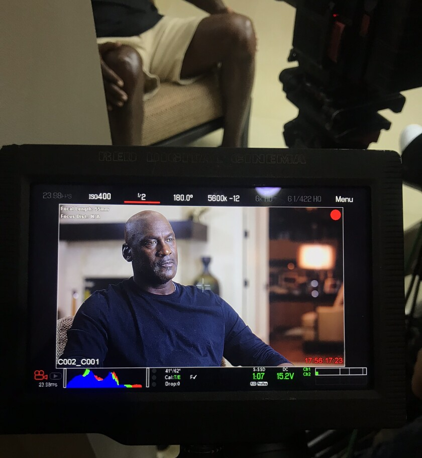 "Michael Jordan is filmed while being interviewed for the docuseries ""The Last Dance."""