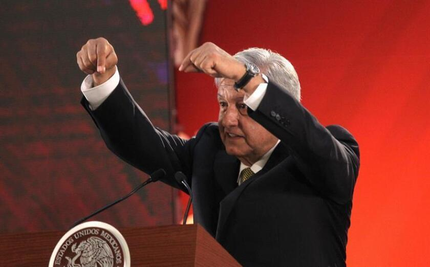 President of Mexico Andres Manuel Lopez Obrador reacts during a morning press conference, at the National Palace in Mexico City, Mexico, 08 February 2019. Obrador denounced today the 'dismantling' of the State Federal Electricity Commission (CFE) and the presence of private companies in the energy sector. EPA-EFE/ Mario Guzman