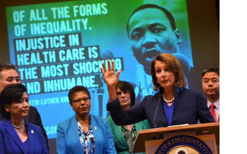 House Minority Leader Nancy Pelosi speaks beside fellow Democrats at a Los Angeles event to protect the Affordable Care Act.