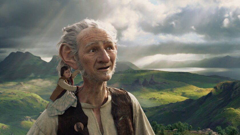 """Ruby Barnhill and a digitally rendered Mark Rylance in the movie """"The BFG."""""""