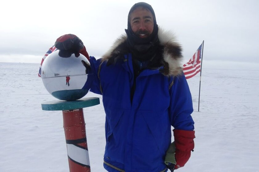 Aaron Linsdau, 39, completed a trek on skis to the South Pole last month.
