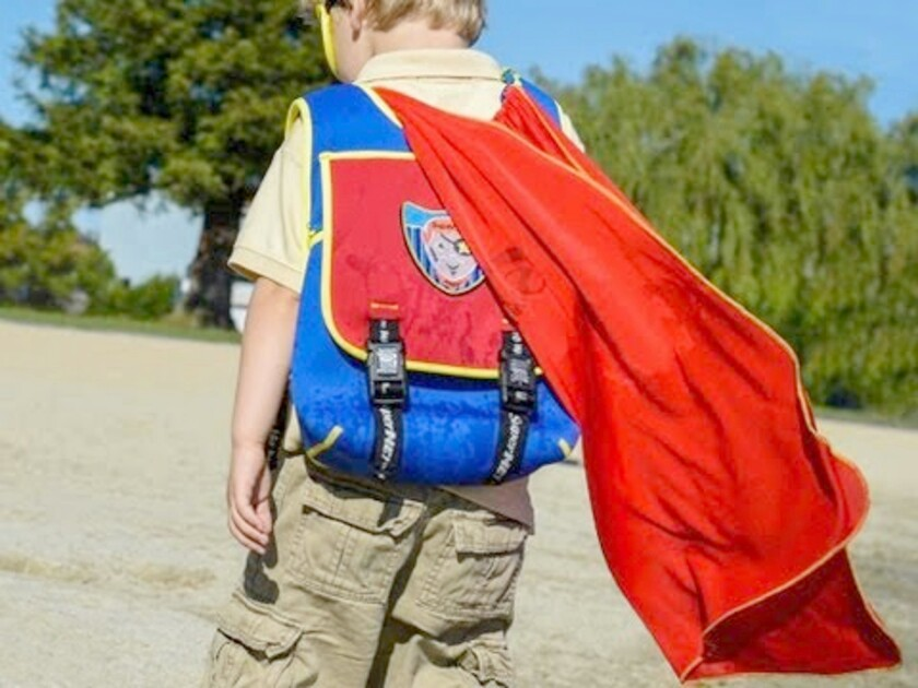 Besides the cape, the SuperME backpack can be a good repository for your little one's travel stuff.