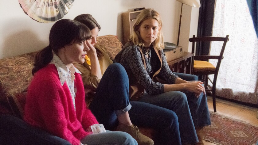 "(L-R)- Cait Cortelyou, Sarah Ramos and Cody Horn in a scene from ""Ask for Jane."" Credit: Michael W"