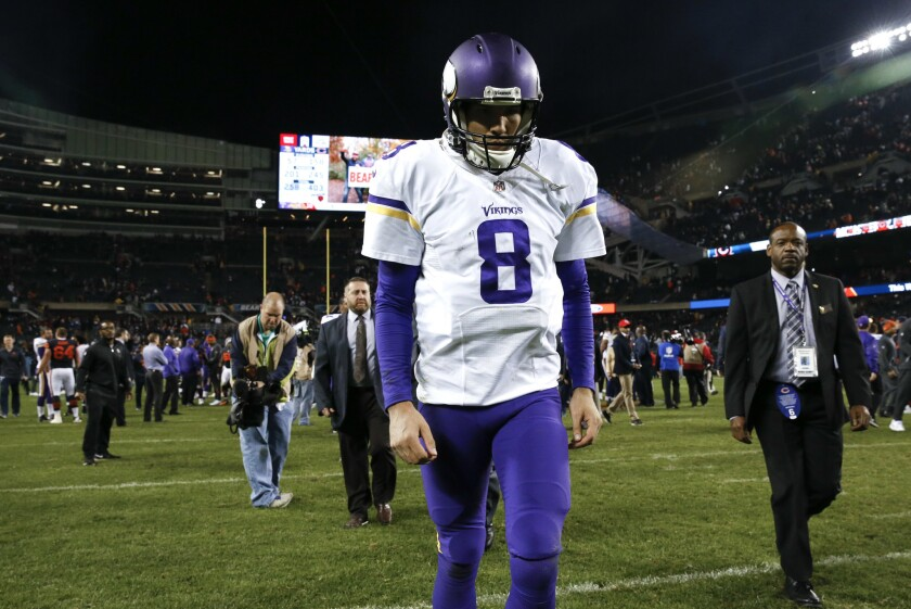 Vikings quarterback Sam Bradford (8) walks off the field after losing 20-10 against the Chicago Bears on Oct. 31.