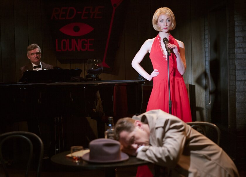 Jeffrey Rockwell (piano player Buddy), Sharon Rietkerk (blonde singer) and Kevin Bailey (private eye) totally amuse in the San Diego premiere of 'Gunmetal Blues.'