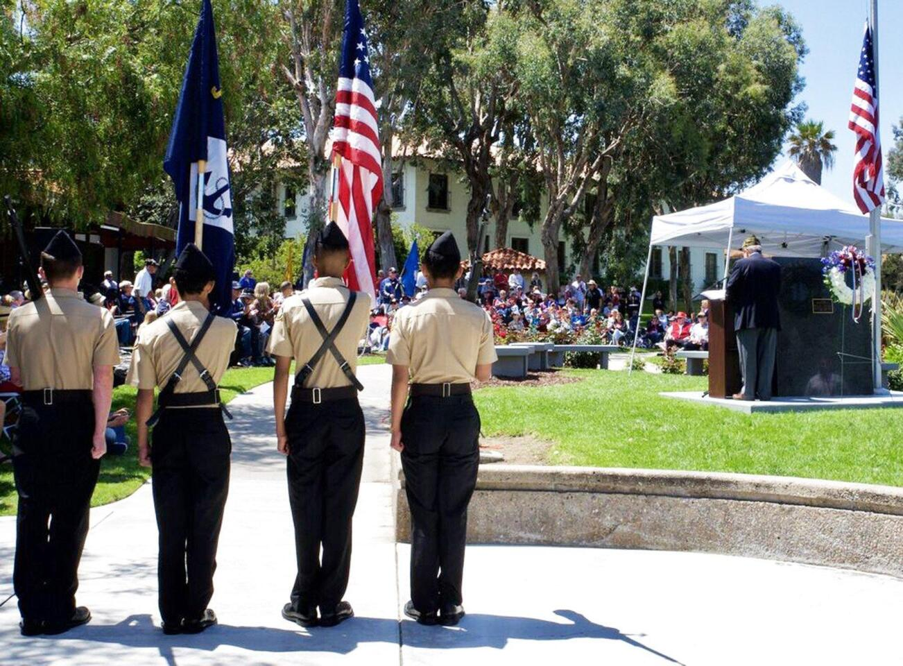 The Westview NJROTC color guard standing at attention during Rancho Bernardo's Memorial Day ceremony on Monday morning in Webb Park.