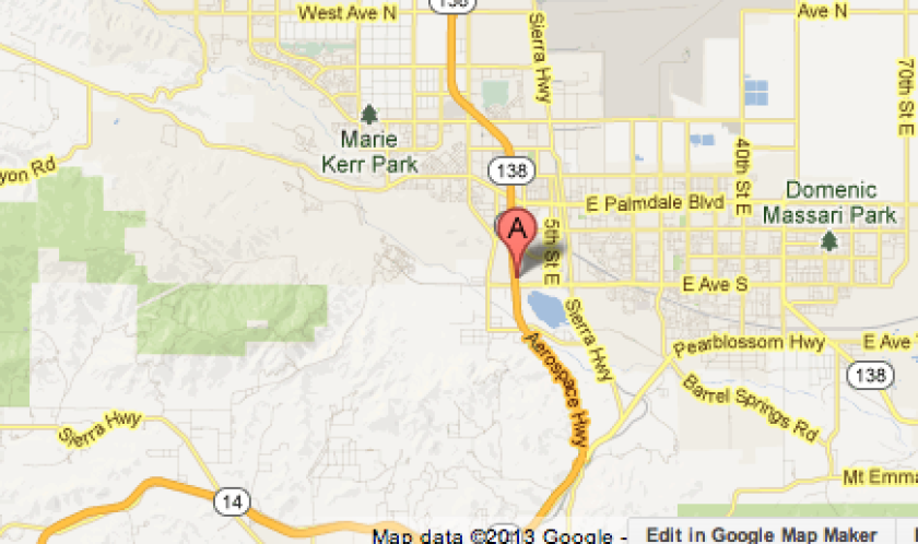 Map shows general location where a sandstorm forced the 14 Freeway to close