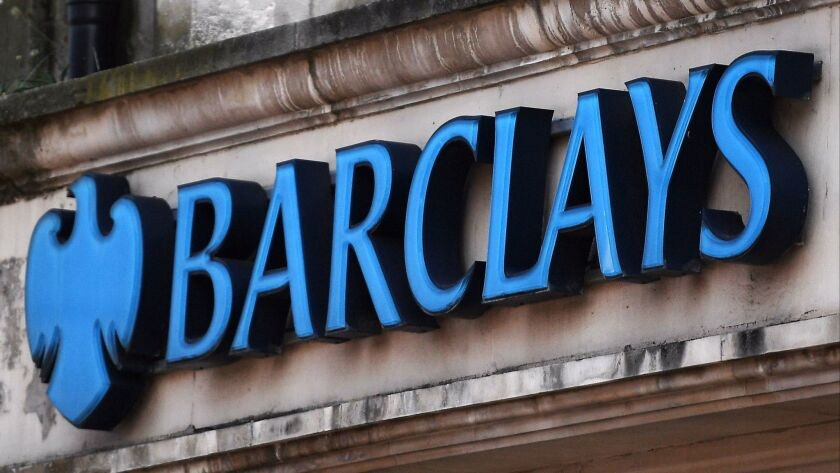 epa06038670 A Barclays bank branch logo in London, Britain, 20 June 2017. The British Serious Fraud
