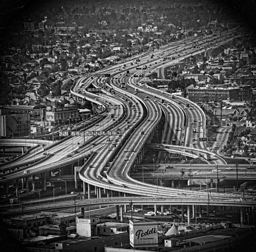 """Each chapter of Peter Lunenfeld's """"City at the Edge of Forever"""" begins with a black-and-white photo of a freeway."""