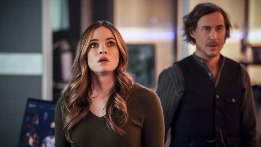 "Danielle Panabaker and Tom Cavanagh in ""The Flash"" on The CW."