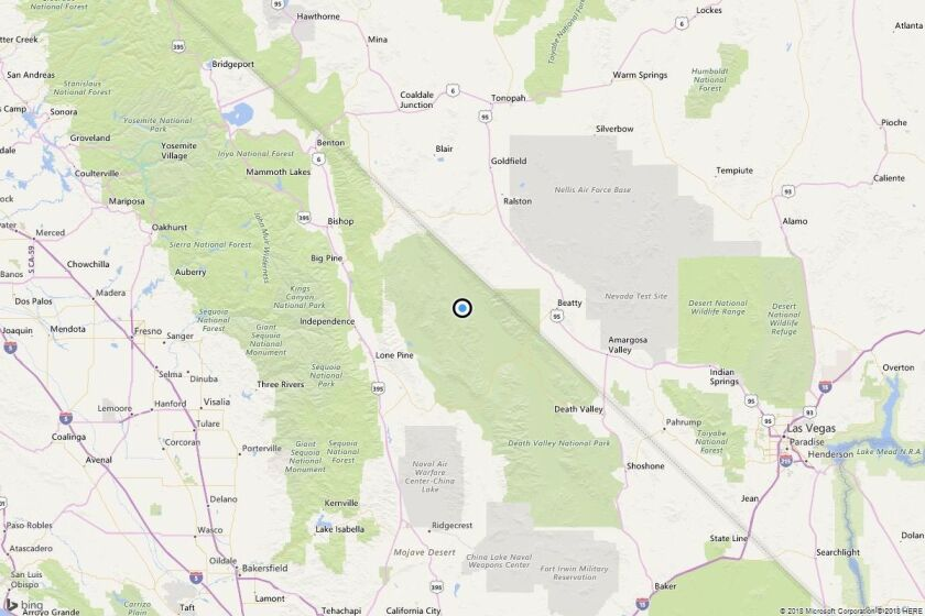 A map showing the location of the epicenter of Tuesday morning's quake near Teakettle Junction, Calif..