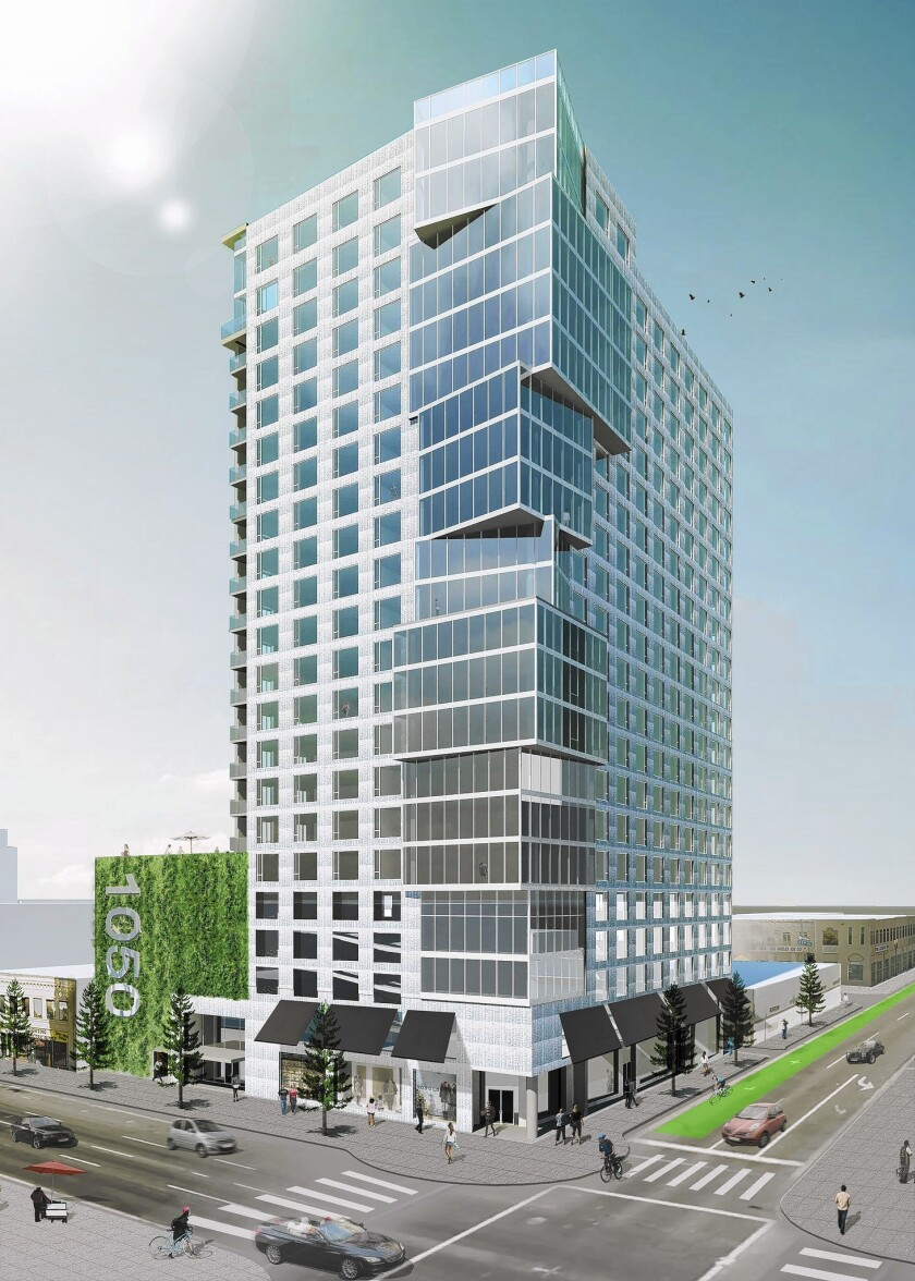 An architect's rendering of the $100-million 1050 Grand condominium tower in downtown Los Angeles. It will rise on the northeast corner of Grand Avenue and 11th Street.