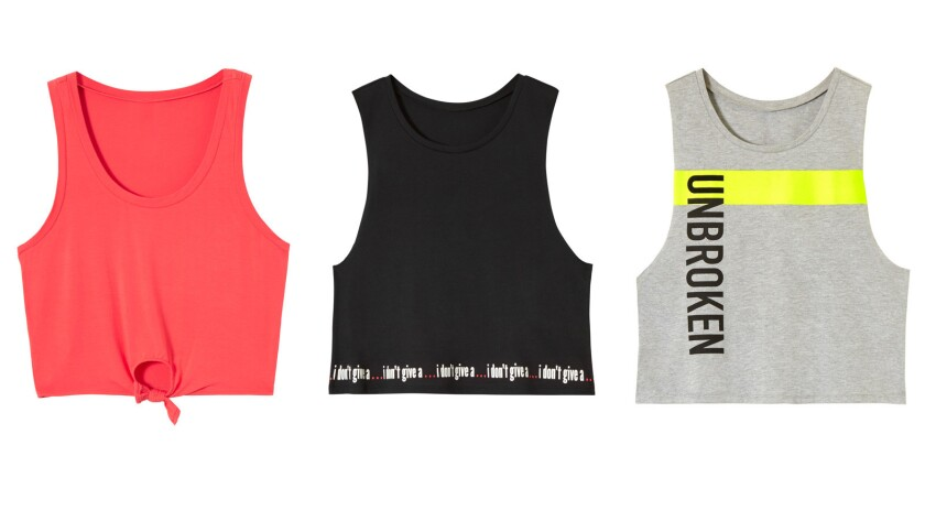 From left: Anabelle tank, $24.95; Bobbie tank, $24.95; and Bobby tank, $24.95