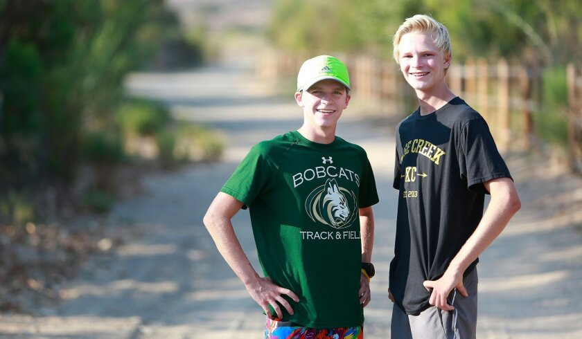 After helping Sage Creek to a section title last year, runners Danny Rubin (right) and Beau Prince have their sights set on a state championship this fall.